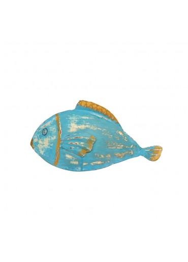 """Metall Fisch """"Fin"""" zum Stellen türkis-blau"""