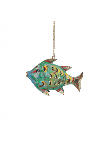 Metall Fisch Laterne XS grün antik