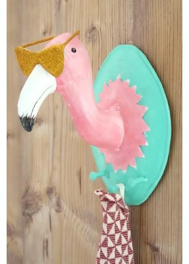 "Metall Garderobe ""Cooler Flamingo"" mit Brille"