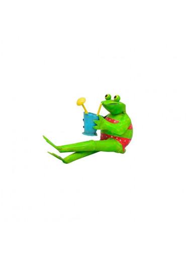 Metall Frosch mit Cocktail