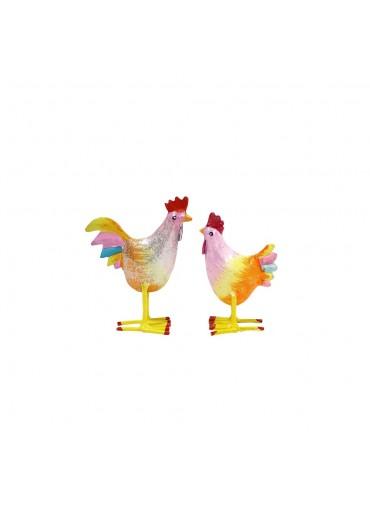 Mini Metall Hahn und Huhn von Pape