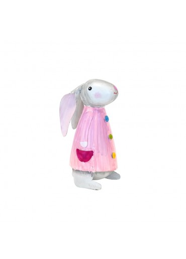 Metall Hase Betty rosa S H 16,5 cm
