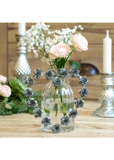 Metall Herz mit Rosen klein H14 cm