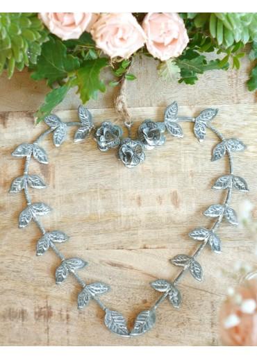 Metall Herz mit Rosen und Blätter groß H17 cm