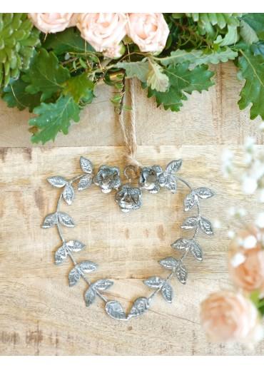 Metall Herz mit Rosen und Blätter klein H12,5 cm