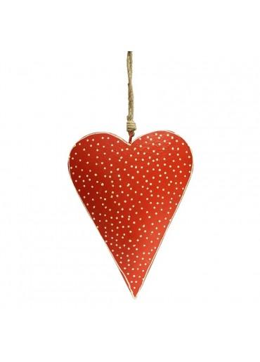 Metall Herz rot mit Punkte groß