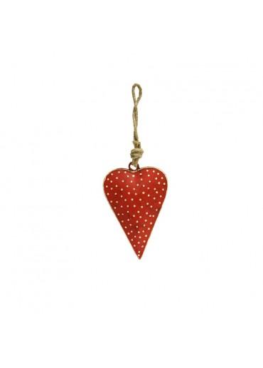 Metall Herz rot mit Punkte klein