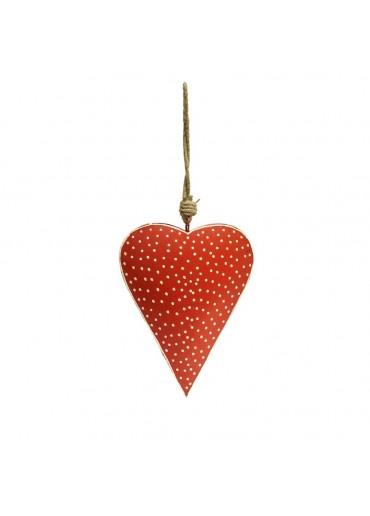 Metall Herz rot mit Punkte mittel