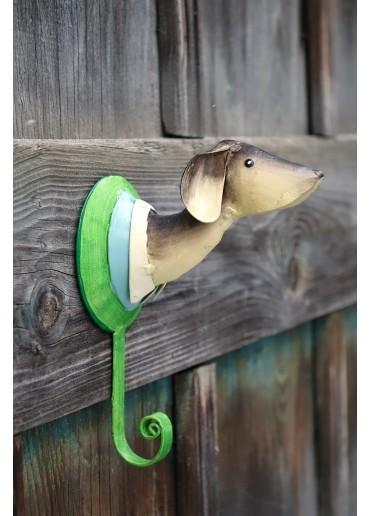 Hund Wandhaken Metall bemalt
