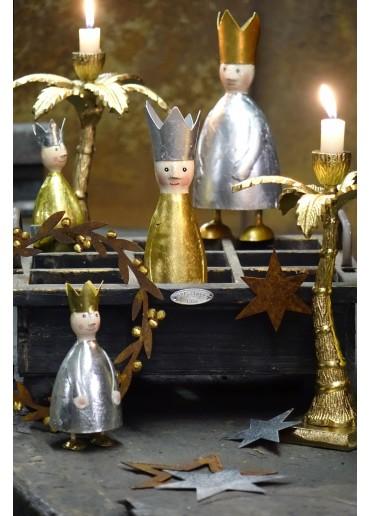 Heilige Drei Könige Metall 3er Set M mit Schlagsilber und Schlaggold