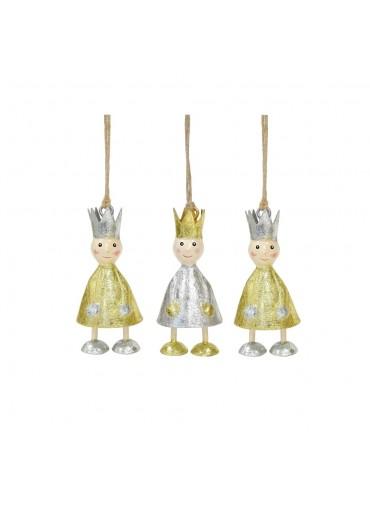 Metall Könige 3er Set mini mit Schlagsilber und Schlaggold zum Hängen