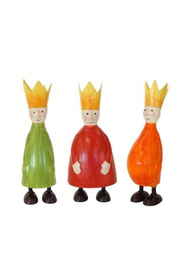 Heilige Drei Könige Metall 3er Set M rot, grün und orange