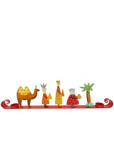 Kerzenständer Hl. Drei Könige mit Schlagsilber und -gold