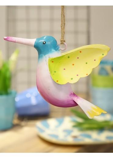 Metall Kolibri groß blau-rosa