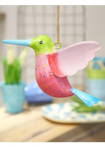 Metall Kolibri groß grün-pink