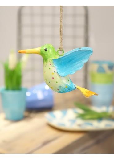 Metall Kolibri klein hellgrün-hellblau mit blauem Flügel