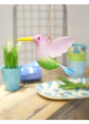 Metall Kolibri klein pink-gelb