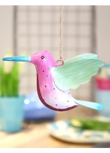 Metall Kolibri groß pink-rosa mit Glitzer