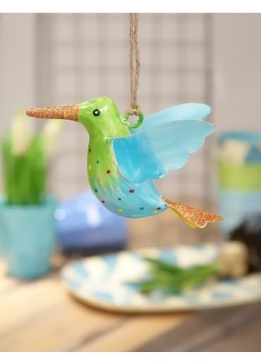 Metall Kolibri klein hellgrün-blau mit Glitzer