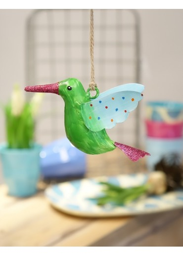 Metall Kolibri klein grün mit Glitzer