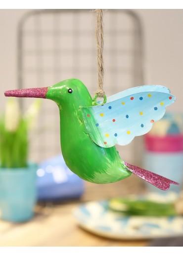 Metall Kolibri groß grün mit Glitzer