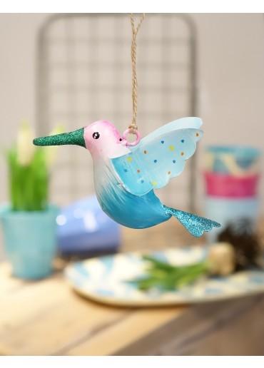 Metall Kolibri klein rosa-blau mit Glitzer
