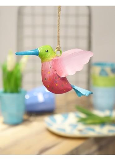Metall Kolibri klein grün-pink