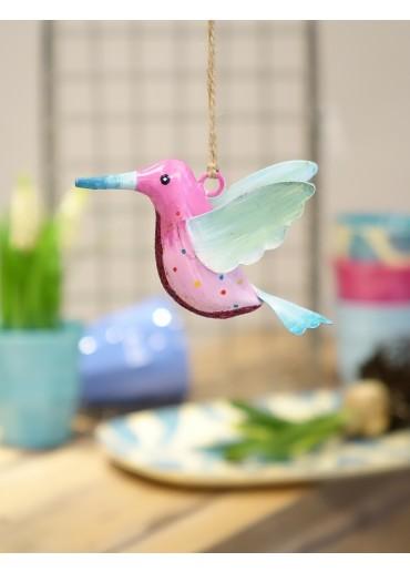 Metall Kolibri klein pink-rosa mit Glitzer