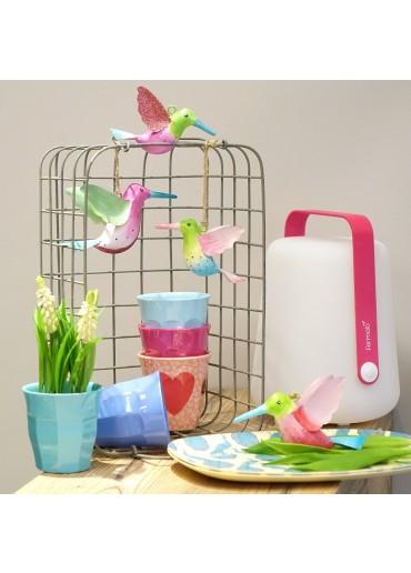 Metall Kolibri klein grün-rosa mit Glitzer