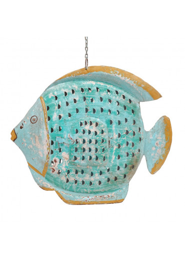 Metall Kugel Fisch Laterne XL hell-türkis