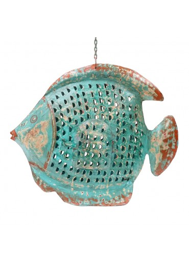 Metall Kugel Fisch Laterne XL türkis zum Hängen und Stellen