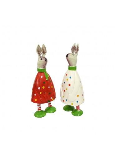 Osterhasenpärchen Jack & Sally 2er Set mini Metall rot/weiß
