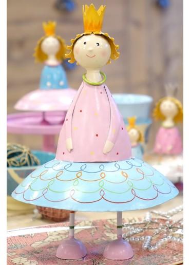 Metall Prinzessin Lotta groß hellblau H25 cm