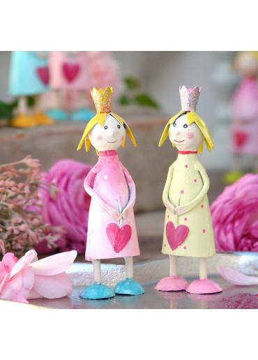 Metall Prinzessin klein rosa mit gelber Krone