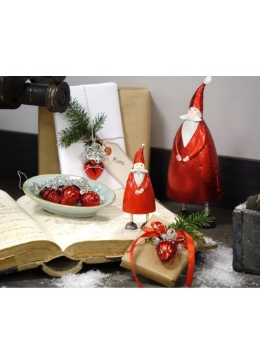 "Metall Santa ""Olli"" Metallic rot M H23 cm"