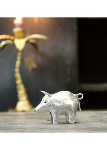 Metall Schwein mini silber