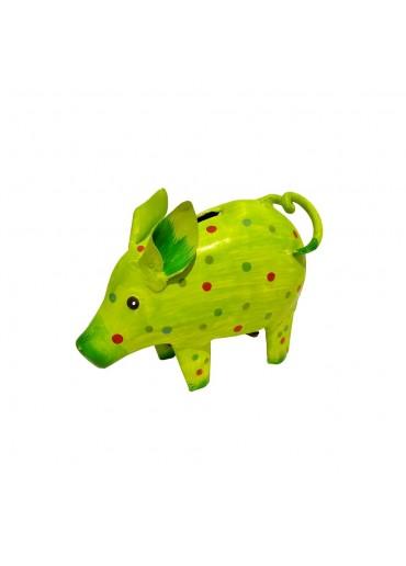 """Metall Spardose Schwein """"Sissi"""" klein hellgrün gepunktet"""