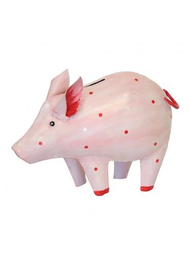 """Metall Spardose Schwein """"Dotty"""" groß rosa"""