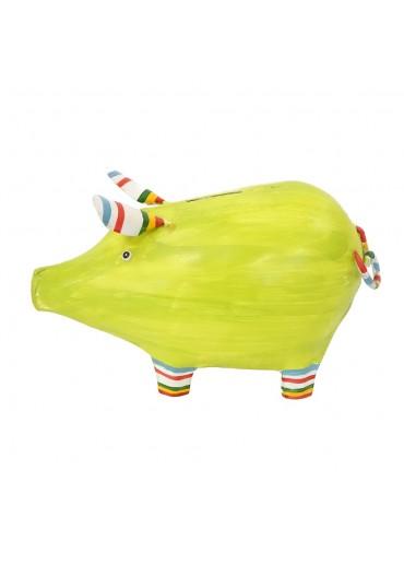 "Metall Spardose Schwein ""Linus"" groß hellgrün"