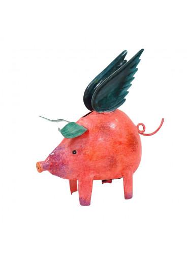 Metall Sparschwein mit Flügeln