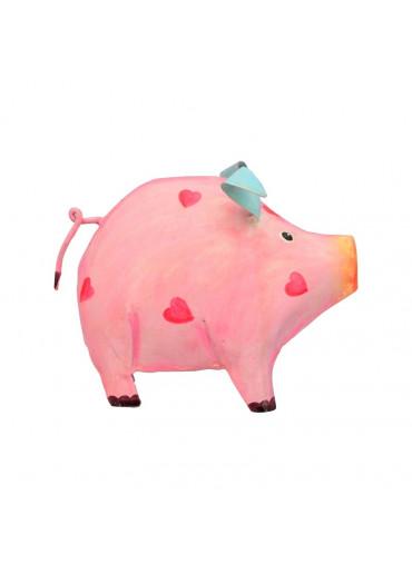 Metall Sparschwein rosa-pink mit Herzchen