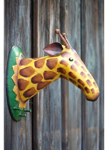 """Metall Trophäe """"Giraffe"""" als Garderobe"""