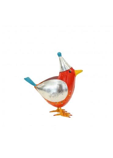 """Metall Vogel """"Rico"""" rot mit Mütze H20,5 cm"""