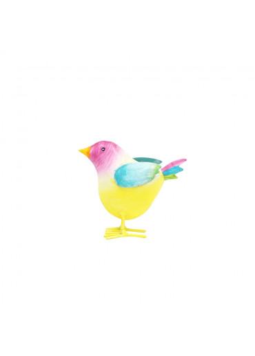 Bunt bemalter Metall Vogel zum Stellen