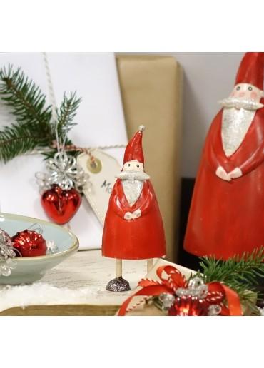 Metall Santa Olli S rot mit Glitzer dekoriert