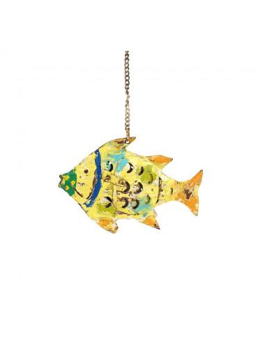 Metall Windlicht Fisch gelb