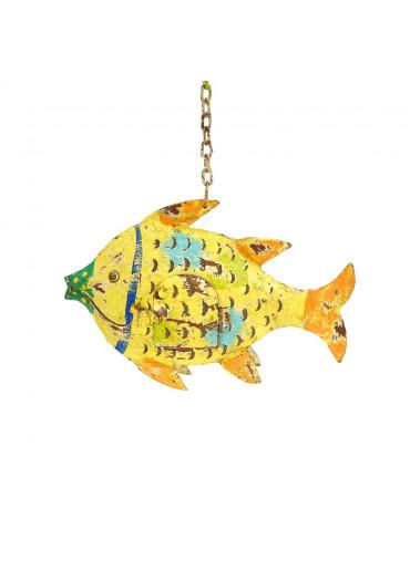 Metall Fisch Laterne gelb