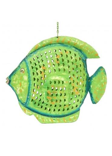 Metall Kugel Fisch Laterne XL grün zum Hängen und Stellen