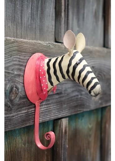 Zebra Wandhaken Metall bemalt