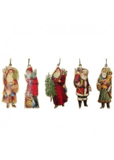 Nostalgie Santas 5er Set aus Metall zum Hängen mittel